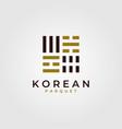 korean parquet flooring logo with flag symbol vector image vector image