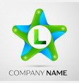 letter l logo symbol in the colorful star on grey vector image vector image