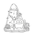 little bear teddy and rabbit in the landscape vector image vector image