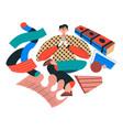 male character doing yoga asanas and meditating vector image vector image