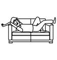 man sleeping on coach vector image vector image