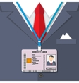 man suit with red tie and id badge vector image