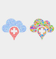 medical cloud mosaic icon triangle items vector image vector image