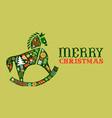 merry christmas retro watercolor folk horse card vector image vector image