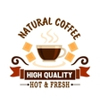 Natural coffee symbol for cafe menu design vector image vector image