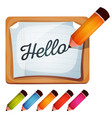 pencil drawing word on blank sign vector image vector image