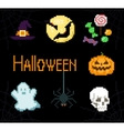 Pixel Halloween icons vector image vector image