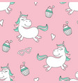 seamless pattern with magical unicorn and cupcakes vector image vector image