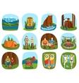 set camping equipment symbols and icons summer vector image
