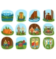 Set of camping equipment symbols and icons summer vector image vector image