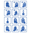 set of camping stove and gas bottle icons vector image vector image