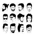 set of men hairstyle with beards and mustache vector image vector image