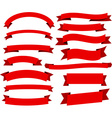 Set of red flat ribbons