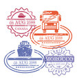ship and bus travel stamps of canada and morocco vector image vector image
