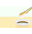 shrimp sushi with chopstick and shoyu vector image vector image