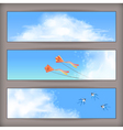 Sky banners white clouds flying kites swallows vector image vector image