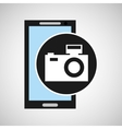 smartphone camera flash social media vector image vector image