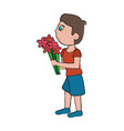 son giving flowers vector image vector image