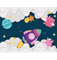 space spaceship shooting star planets clouds sky vector image vector image
