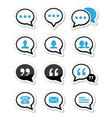 Speech bubble blog contact icons set vector image vector image