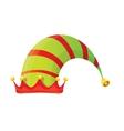 stripped cartoon christmas elf hat vector image