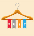 suit clothes hanger suit colorful ribbon backgroun vector image
