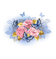 three pink roses with butterflies vector image vector image