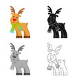 toy deer single icon in cartoonblackflat vector image vector image