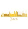 Zurich City skyline golden silhouette vector image vector image