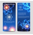 Scientific flyer template with atom model vector image