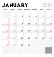 calendar planner for january 2018 week starts on vector image