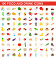 100 food and drink icons set isometric 3d style vector image vector image