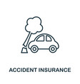 accident insurance outline icon thin line style vector image