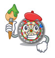 artist dartboard stuck to the cartoon wall vector image
