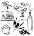 Black and White Hand Drawn Set of Olive Products vector image