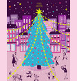 bright christmas greeting card with city scene vector image