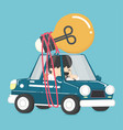 businessman driving car have bulbs idea vector image
