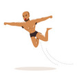 cartoon muscularity wrestler in high flying action vector image vector image