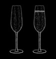 champagne glass empty and full hand drawn black vector image