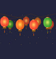 chinese lantern garland colorful asian vector image