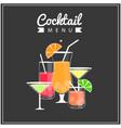 cocktail menu set of cocktail black background vec vector image vector image