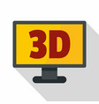 computer monitor with 3d inscription icon vector image vector image