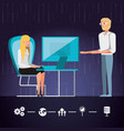 couple working and set icons business vector image