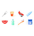 dental care icons in set collection for design vector image