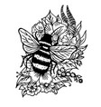 doodle bumblebee in flowers and leaves vector image vector image