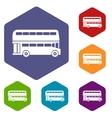 Double decker bus icons set vector image vector image