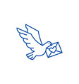 dove with a letter line icon concept dove with a vector image
