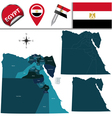 Egypt map with named divisions vector image vector image