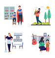 family time housewife flat icons pack vector image