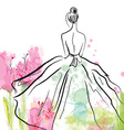 Fashion girl in beautiful dress - sketch vector image vector image